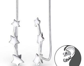 Star climber 925 Sterling silver minimalist earrings