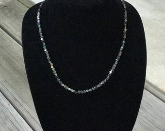 Teal and silver hematite necklace