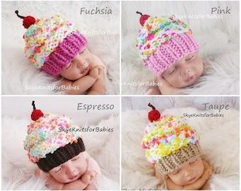 Baby Cupcake Hat, Newborn Cupcake Hat, Photography Props, Newborn Props, Knit Baby Hat, Baby Cupcake Beanie, Newborn Hat, Newborn Photo Prop