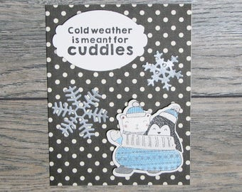 Winter is for Cuddles Black handcrafted card-CB123117-7