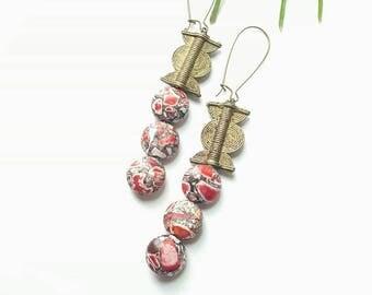 Large, African brass pendant earrings-dramatic drop dangle earrings// The Tionne earrings