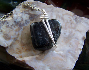 Ancient Nuummite Natural Greenland Polished Stone Pendant