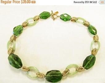 On Sale Vintage Monet Estate Faceted Green Glass Aventurine Rhinestone Link Necklace