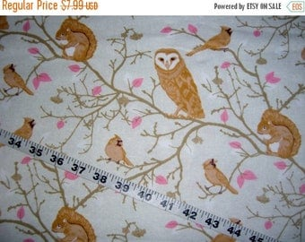 "Wildlife Flannel fabric with owls birds tree branches blossoms cotton print quilt sewing material to sew crafting 34"" x 43"" remnant quilter"