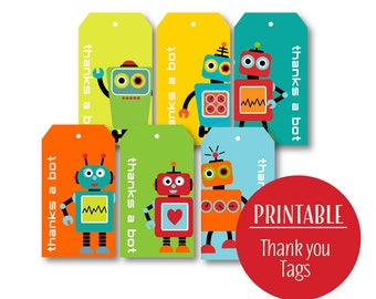 Robot Thank You Tags | Thanks a Bot Tags | Printable Party Tags | DIY Instant Download | Colorful Robot Party Favour Tags | 1122