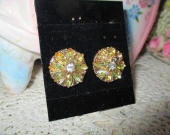 Vintage AB Rhinestone Costume Earrings-Pierced-Hollywood Glam-Retro-Mid Century