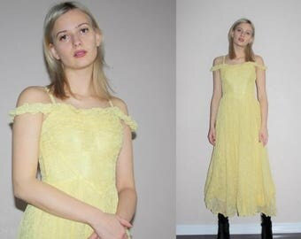 On SALE 35% Off - Vintage 1930s Rare Embroidered Mesh Overlay Off The Shoulder Lemon Yellow 30s Dress - 30s Dresses - W00682
