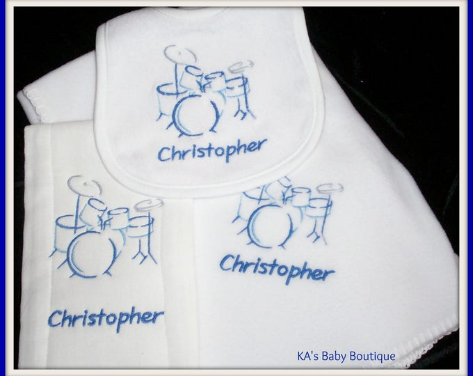 Baby Drummer gift, Musician baby gift, Baby bib, Baby personalized blanket, Little Drummer, Rocker baby gift, monogrammed baby bib, Band set