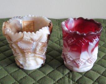 2 Vintage Imperial End Of Day Caramel Slag Glass Toothpick Holders Caramel & Ruby Slag