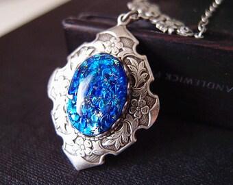 Vintage blue opal glass jewel aged brass victorian necklace