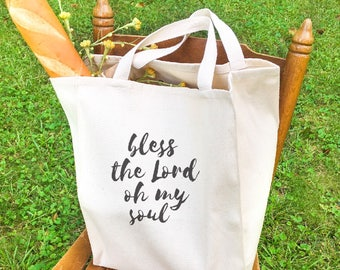 Market style 'Bless the Lord oh my soul' tote bag, Christmas gift, housewarming gift, tote bags for women, shopper canvas bag, shopper bag