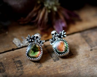 Dainty Calavera Studs with Watermelon Tourmaline - Skull, Succulent, Recycled, Post, Stud, Gypsy, Day of the Dead, Rocker, OOAK, Mismatched