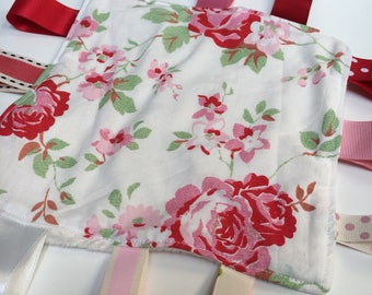 Tagged Sensory Blanket mini size 7 x 7 red roses