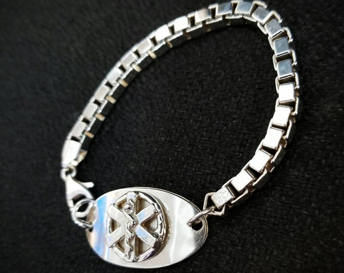 Original Sterling Silver Medical Alert Bracelet - Oval and Unique - Choice of Fonts, Text, Clasp Arrangment - Thick Box Chain - Men or Women