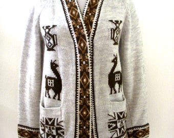 Vintage 70s Tan Taupe Llama Sweater - Beige and Brown Cowichan Style Cardigan Sweater - 1970s Boho Hippie Cardigan Sweater - Size Small