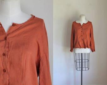vintage 90s flax blouse - TERRA COTTA linen top / S/M