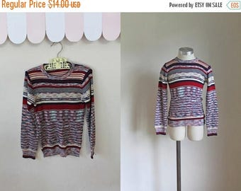 AWAY SALE 20% off vintage 1970s child's sweater - AUTUMN Sunset space dye knit top / 7yr
