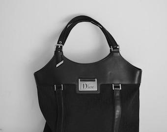 DIOR BLACK Cloth Tote Authentic Shopping Bag Diorissimo Handbag serial number 15-BO-0065