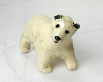 Polar Bear Sculpture - Bear Ceramic Figurinel - Pottery Animal - Clay Polar Bear - Fairy Garden Bear