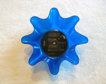 Elvis Presley Blue Colored Vinyl Record Bowl Made From Repurposed Album