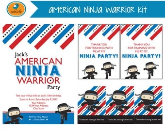 American Ninja Warrior Party Kit, Ninja Birthday, Karate, Boy Invitation, Digital Party Kit, Ninja Invitation, Birthday Party Printable