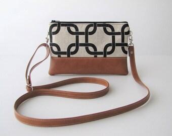 Crossbody Bag, Crossbody Clutch, Vegan Crossbody Purse, Clip on Crossbody Strap,Crossbody Wallet, Tan and Black Links