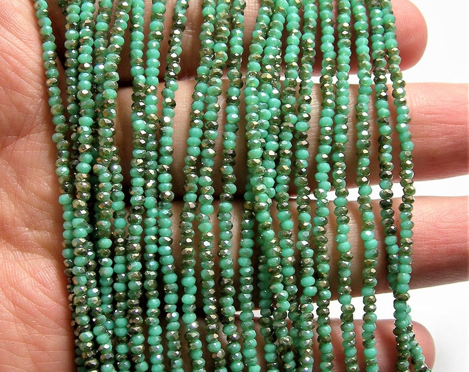 Crystal - rondelle  faceted 1mm x  2mm beads - 195 beads - turquoise dual tone ab - full strand - VSC33