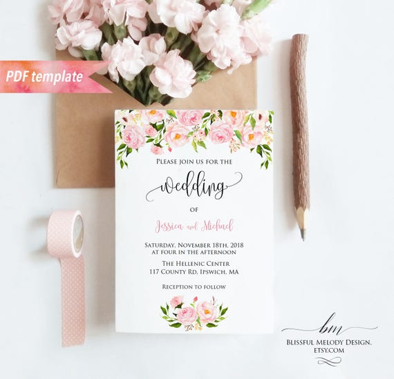 Printable blush pink floral wedding invitation pdf template il570xn stopboris Images