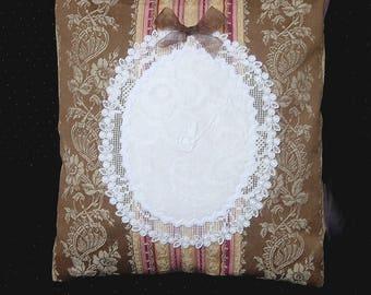 HOUSSE DE COUSSIN  n1 toile a matelas monogramme dentelle linge ancien 40 x40 cm
