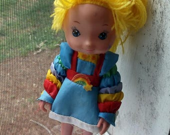 "Pair of 2 1983 Hallmark Rainbow Brite Doll hard plastic 8"" tall One in Rainbow Brite dress one in Barbie Clothes"