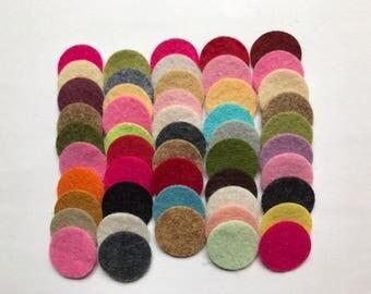 Wool Felt Circles Die Cut 50 - .75 inch Random Colored 4111 - DIY Felt - Merino Felt - Arts and Crafts - Hair Clip Supply - Die Cut Felt