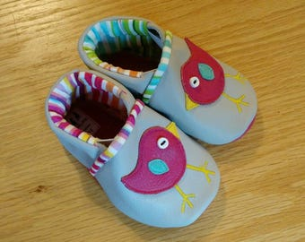 little birds pink/ gray baby girl shoes size 3-6 months baby booties gift for baby shower