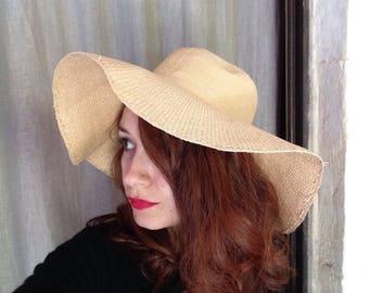 grande capeline garniture chapeau des années 1970 tissé