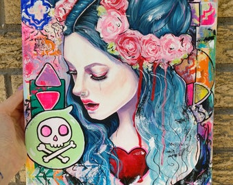 Shift - 11x14 Original Acrylic Painting on Canvas Wall Art Pop Surrealism New Contemporary Woman with Blue Hair and Skull Lowbrow Fine Art