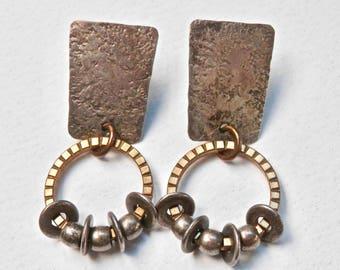 Mixed Metals Artisan Earrings Vintage Designer Jewelry Hammered Brass Metal Gunmetal Hanging Disks