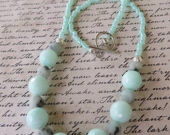 Sesame Jasper Agate And Light Aqua Glass Beaded Necklace