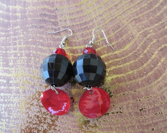 Large Dangling Bead Earrings With Crystals And Red Mussel Shells