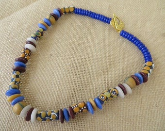 Ghana African Glass Colorful Tribal Inspired Beaded Necklace