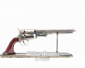 1:1 scale Steampunk / Assassin's Creed Prop Pistol Revolver Gun - Working Trigger - Hand painted with stand.  Cosplay, Costume, Halloween