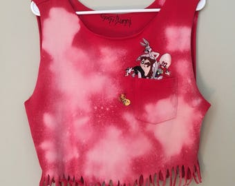 Looney Tunes Crop Top, Awesome Pocket, fringe and acid wash, upcycled, embroidery