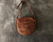 Woven Leather Basket Bag Bucket Bag Shoulder Cross Body Ethnic Beach Summer Boho Hippy Bohemain Straw Like Bag