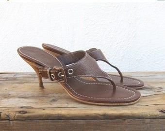 SALE 90s Prada Thong Kitten Heel Brown Leather Sandals Ladies Size 37