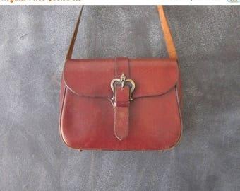 SALE 70s Etienne Aigner Wine Leather Saddle Shoulder Satchel Bag Purse