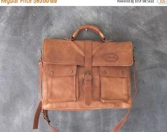 20% Off Sale Overland Distressed Brown Leather Satchel Briefcase Work Bag w/Shoulder Strap