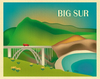 Big Sur Print, Big Sur California art, Big Sur Print, Big Sur Skyline, Big Sur Art, Big Sur Print, retro art style E8-O-BIG