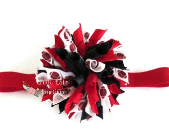 Red and Black Atlanta Falcons Korker Bow Headband, Girls Hair Bows, Girls Headband, Curly Football Korker Hair Clip, Korker Bow Clip