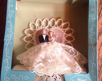 Vintage Coast Hand Painted Wedding Cake Topper Bride Groom