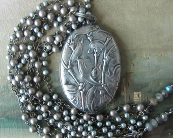 French Mistletoe Slide Locket
