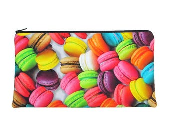 French Macarons Zipper Pouch Pencil Case Clutch Purse - Ready to Ship