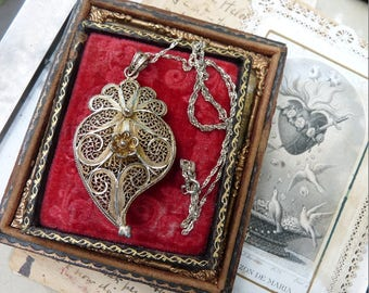 Antique Witches Heart Necklace, Talisman for the Elemental Woman, offered by RusticGypsyCreations